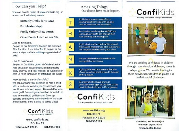 Confikids Trifold Brochure - side one
